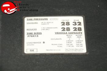 71 72 Impala Tire Pressure Decal