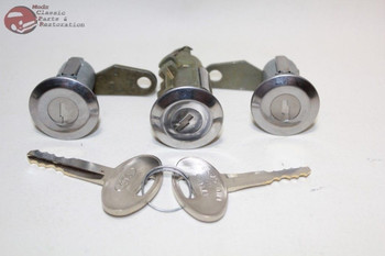 81-93 Mustang Ford Door Trunk Lock Cylinders Keys Chrome Cap Flat Pawl New