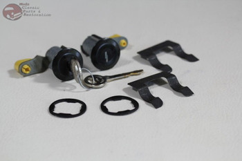 81-93 Mustang Ford Door Lock Cylinder Key Set Black Cap Bent Pawl