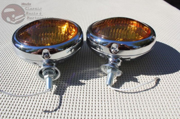"Amber 5"" 6 Volt Custom Mounted Fog Lights Lamps Vintage Style Car Truck Hot Rod"