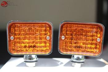 Amber Chrome Rectangle Hot Rat Rod Utility Marker Light Large Custom Truck Pair
