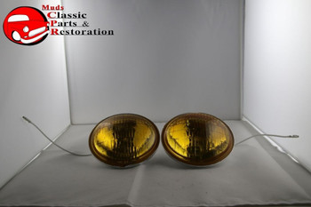 Amber Lens Fog Lamp Light Replacement Bulbs Vintage Style 6 Volt Hot Rod Truck