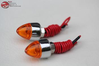 Amber Mini Led Bullet License Plate Frame Tag Fastener Bolts Chopper Bobber Pair