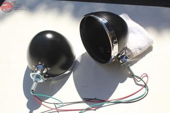 """Black Hot Rat Street Rod Roadster Dietz 7"""" Headlight Lamp Buckets Assemblies"""