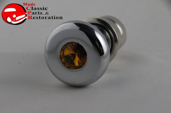 Casco Chrome Deluxe Cigarette Lighter Knob Element Amber Diamond Top Accent Dash