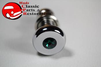 Casco Chrome Deluxe Cigarette Lighter Knob Element Green Diamond Top Accent Dash