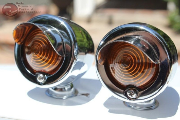 Chrome Amber Custom Marker Lights Pair Custom Car Truck Hot Rat Street Rod New