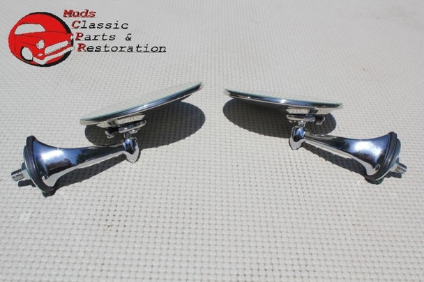 Custom Fender Mounted Single Bolt Lucas Style Outside Rearview Mirrors Mini Mg