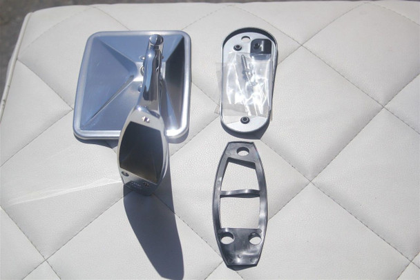 Chevy Chrome Rectangular Rear View RIBBED Base Door Side Mirror /& Hardware PR