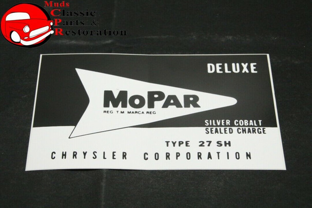 57 58 59 60 61 62 63 64 Plymouth Dodge Chrysler Desoto Type 27 Battery Decal