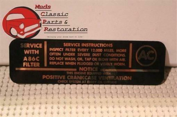 62 62 64 65 Chevy 4-Barrel V-8 Air Cleaner Decal