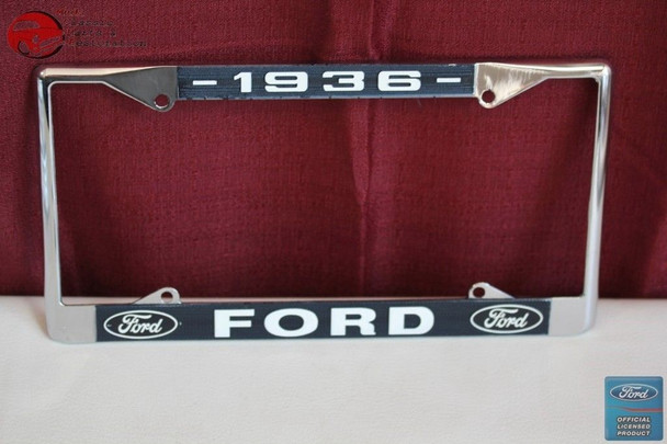 1936 Ford Car Pick Up Truck Front Rear License Plate Holder Chrome Frame New