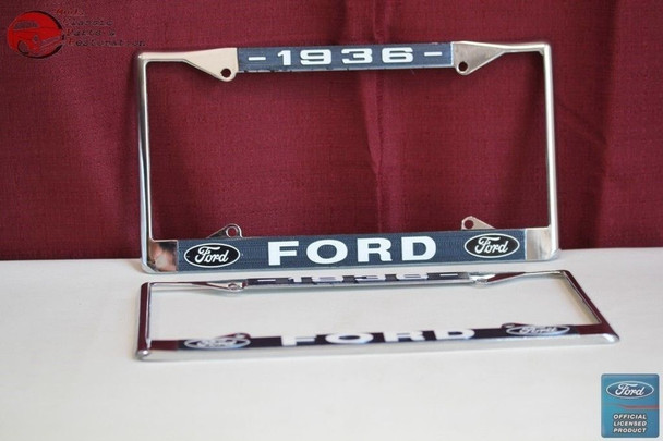 1936 Ford Car Pick Up Truck Front Rear License Plate Holder Chrome Frames New