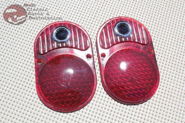 33-36 Chevy Car Pair Of Rear Taillight Tail Light Lamp Blue Dot Jewel Lenses