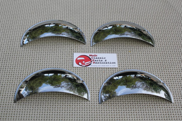 "5"" Custom 4 Headlight Headlamp Chrome Half Moon Shield Trim Covers Hot Rat Rod"