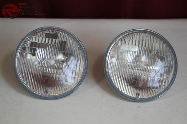 "5"" Halogen Round Sealed Beam Headlight Headlamp Bulbs Dual Quad 4 Lamp Systems"
