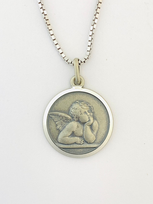 Sterling Silver Guardian Angel. Antique finish.