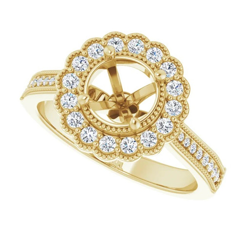 14k Yellow Gold 1/3 carat tw Diamond Engagement Mounting.