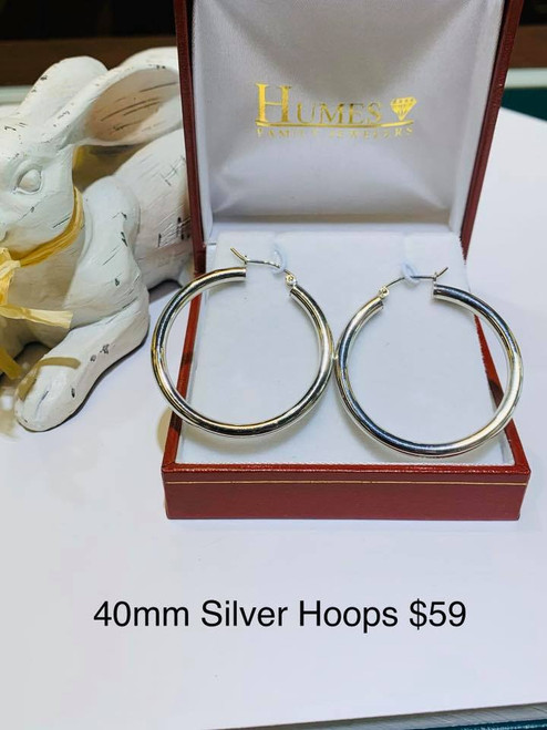 40mm Sterling Silver Hoops 3mm Wide