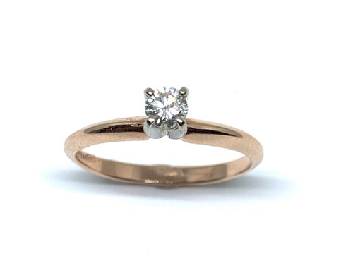 1/5 Carat Rose Gold Diamond Solitaire Engagement Ring