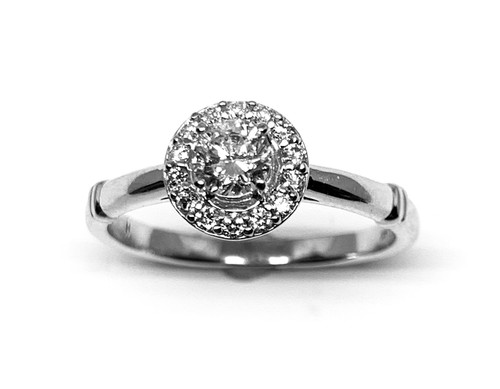 1/2 Carat White Gold Diamond Halo Engagement