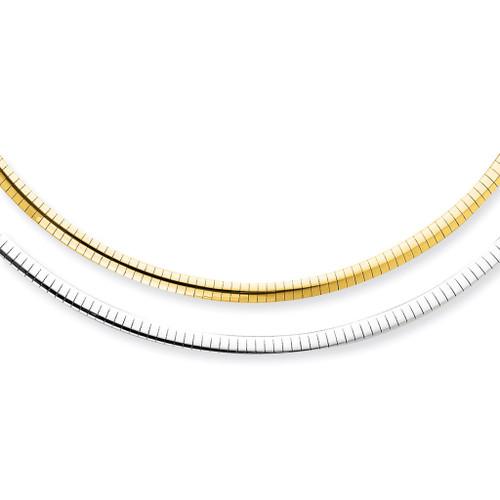 "16"" 14k Gold & Sterling Reversible Omega"
