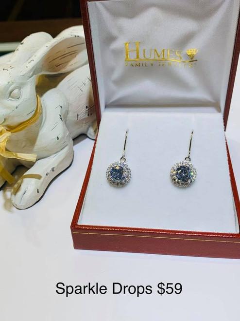 Sterling Silver CZ Halo Drop Earrings