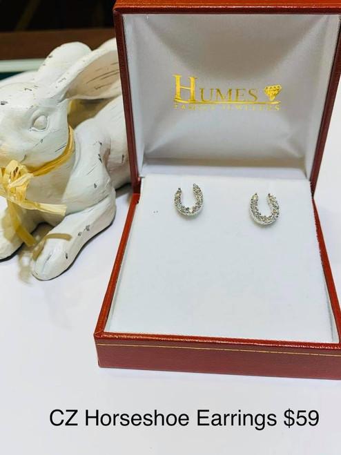 Horseshoe CZ Earrings in Sterling Silver