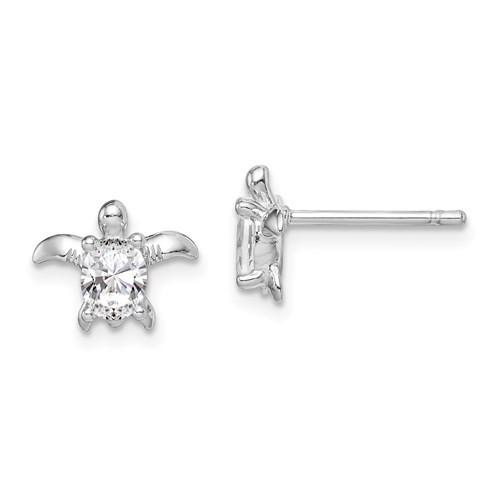 Sterling Silver & CZ Sea Turtle Earrings