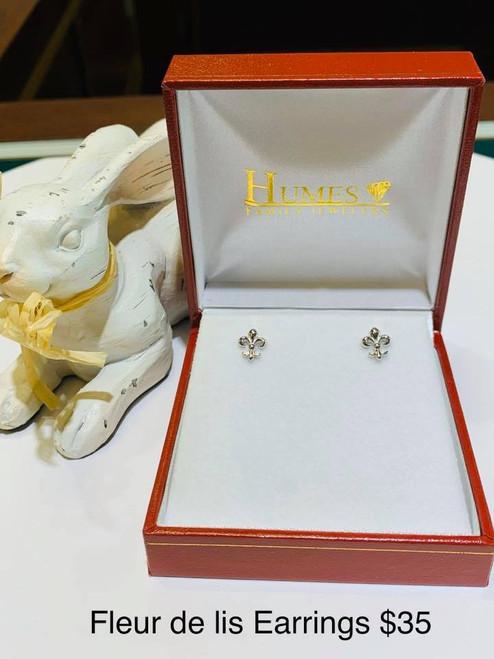 Fluer-De-Lis Sterling Silver Post Earrings