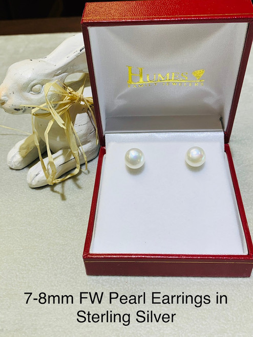 7-8mm FW Pearl Earrings in Sterling Silver