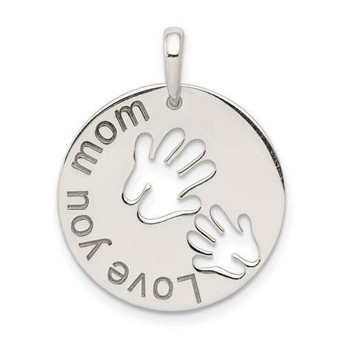 """Love You Mom"" Pendant in Sterling Silver"