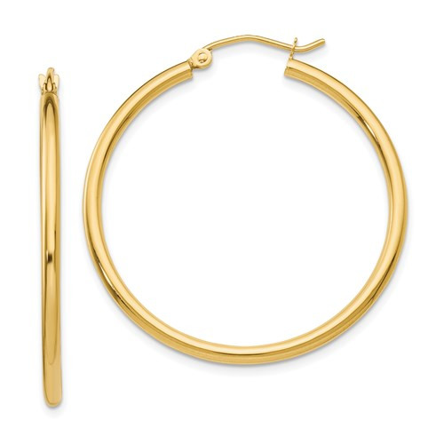 14k Gold 2mm x 35mm Hoop Earrings