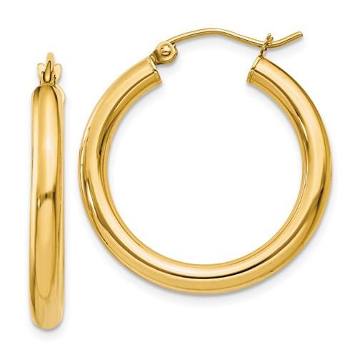 14k Gold 3mm x 25mm Hoop Earrings