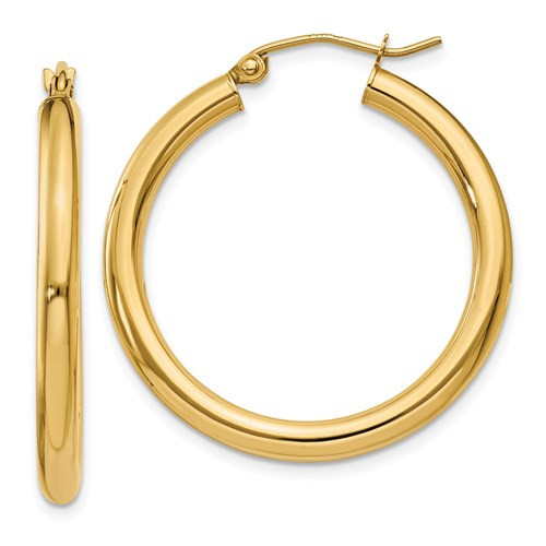 14k Gold 3mm x 30mm Hoop Earrings