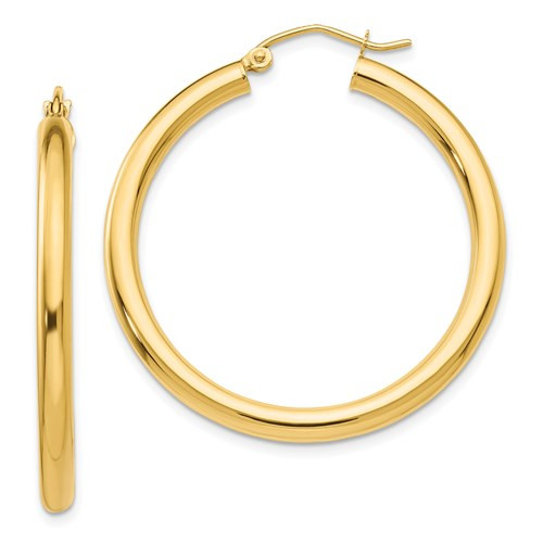 14k Gold 3mm x 35mm Hoop Earrings