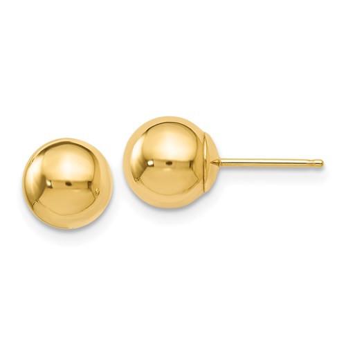 7mm 14k Gold Ball Earrings