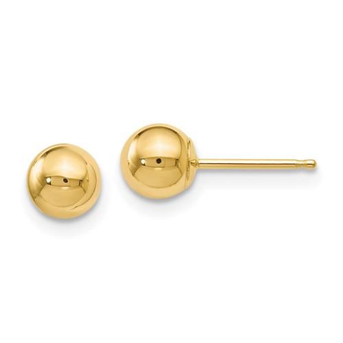 5mm 14k Yellow Gold Ball Earrings