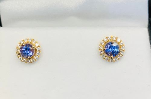 18k Gold Tanzanite & Diamond Halo Earrings