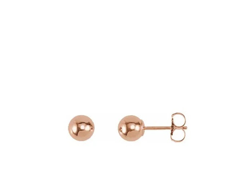 Rose Gold 14k 6mm Ball Earrings