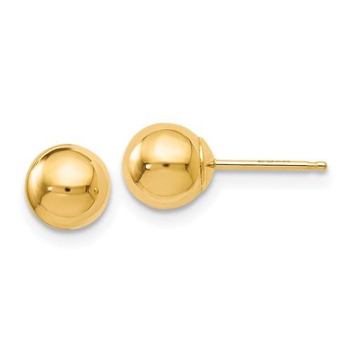 6mm 14k Gold Ball Earrings