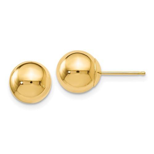 8mm 14k Gold Ball Earrings