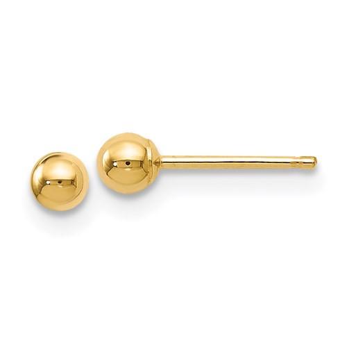 3mm 14k Gold Ball Earrings
