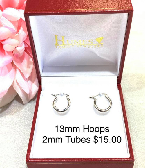 Sterling Silver 13mm Hoops 2mm Wide