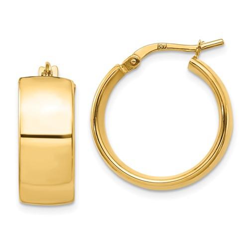 14k Gold Wedding Band Hoops 20 mm x 8mm