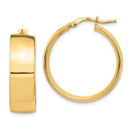 14k Gold Wedding Band Hoops 25 mm x 8mm