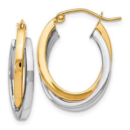 14k Gold Two-Tone Double Hoops