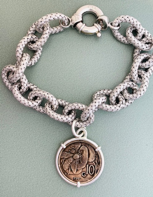 Italian Honey Bee Coin Bracelet