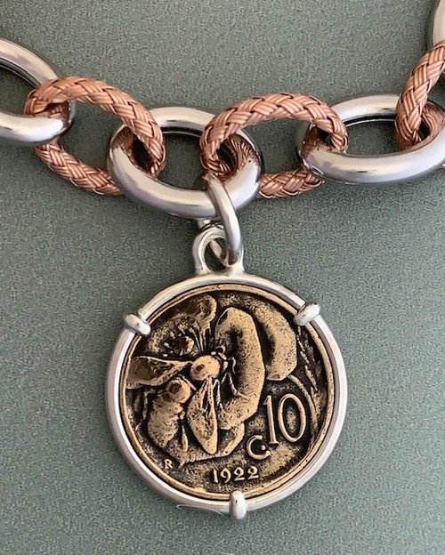 Italian Honey Bee Coin Bracelet Two Tone