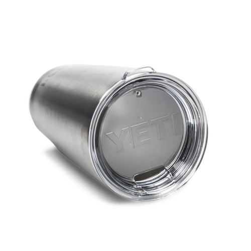 The PK Grills branded YETI 20 oz. Rambler Tumbler in stainless steel with lid.